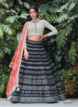 Black Color Georgette Wedding Wear Lehenga