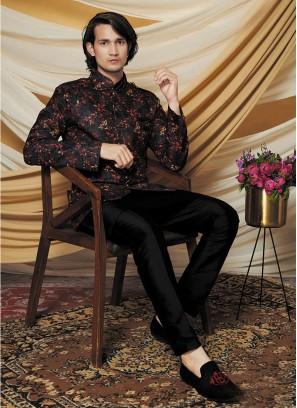 Black Color Jacquard Silk Kurta Set