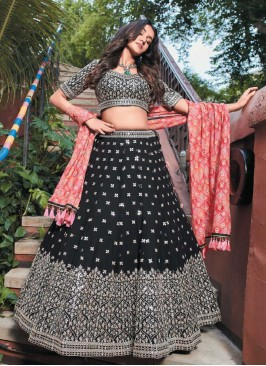 Black Color Lehenga With Bandhni Dupatta