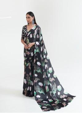 Black Color Lotus Print Satin Saree