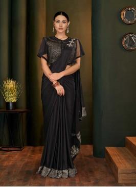 Black Color Lyrca Readymade Blouse Saree