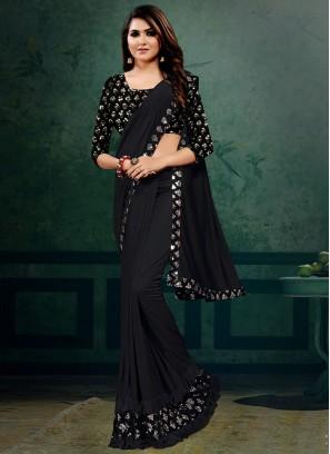 Black Color Lyrca Stylish Saree