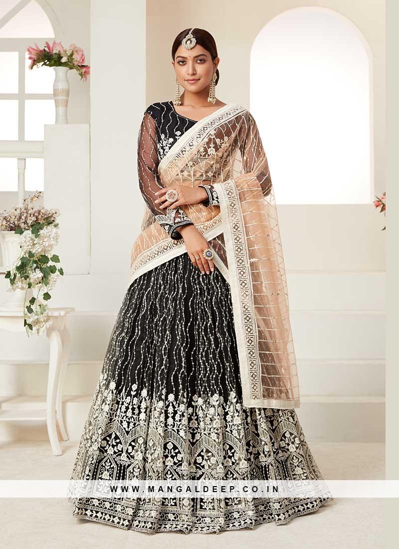 Black Color Net Sequins Work Lehenga