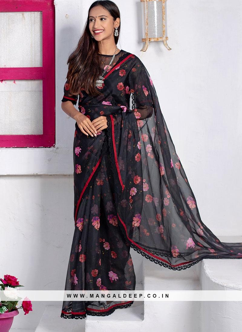 Black Color Organza Floral Print Saree