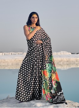 Black Color Polkha Print Saree