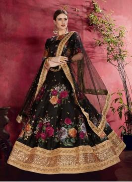 Black Color Printed Art Silk Lehenga