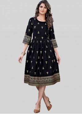 Black Color Rayon Daily Wear Kurti