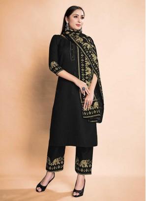 Black Color Rayon Ladies Suits