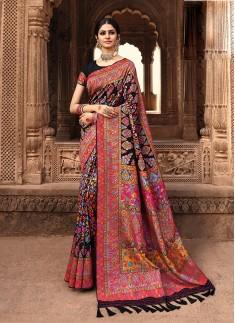 Black Color Silk Function Wear Saree