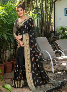 Black Color Silk Kitty Party Wear Saree