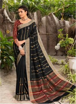 Black Color Silk Party Wear Saree