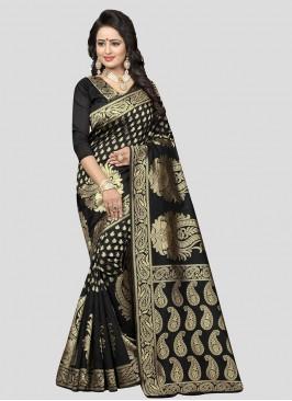 Black Color Silk Saree For Wedding