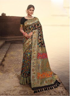 Black Color Silk Wedding Wear Saree