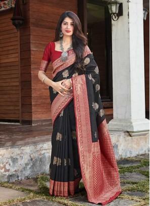 Black Color Silk Women Saree