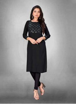 Black Color Slub Cotton Kurti