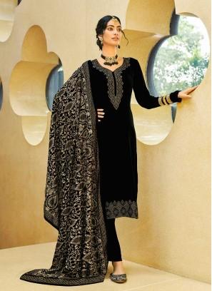 Black Color Velvet Salwar Kameez