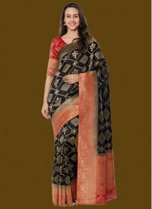 Black Color Zari Work Saree Online