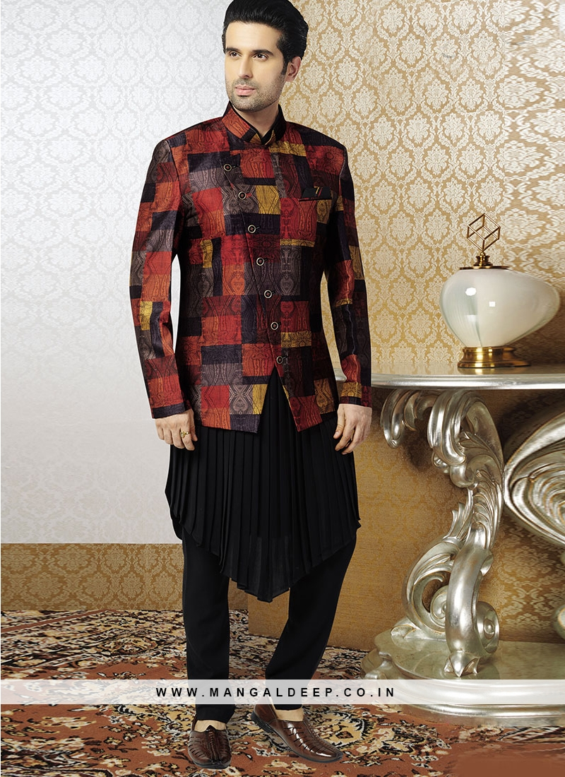 Black Kurta With Fancy Jacket