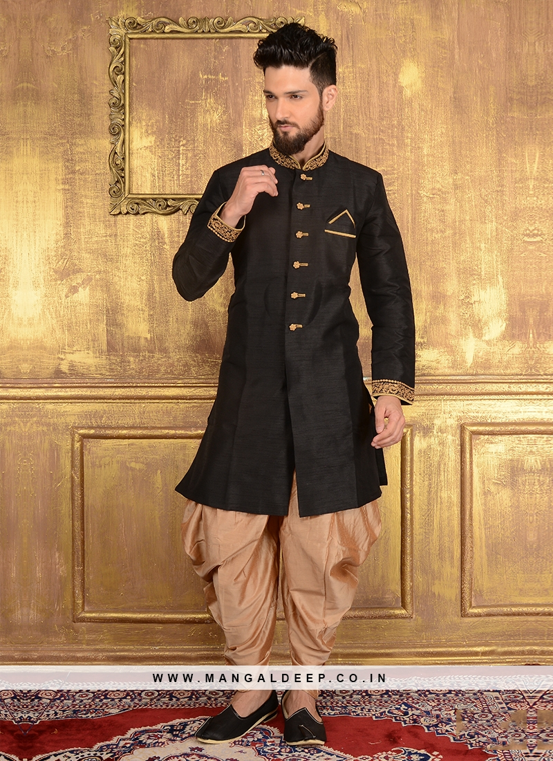 Black Men's Patiala Suit