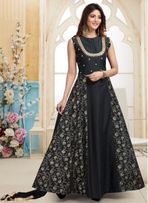 Black Zari Work Designer Party Wear Readymade Anarkali Suit