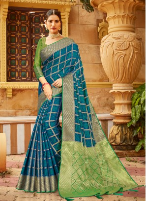 Blue And Green Color Saree For Ladies
