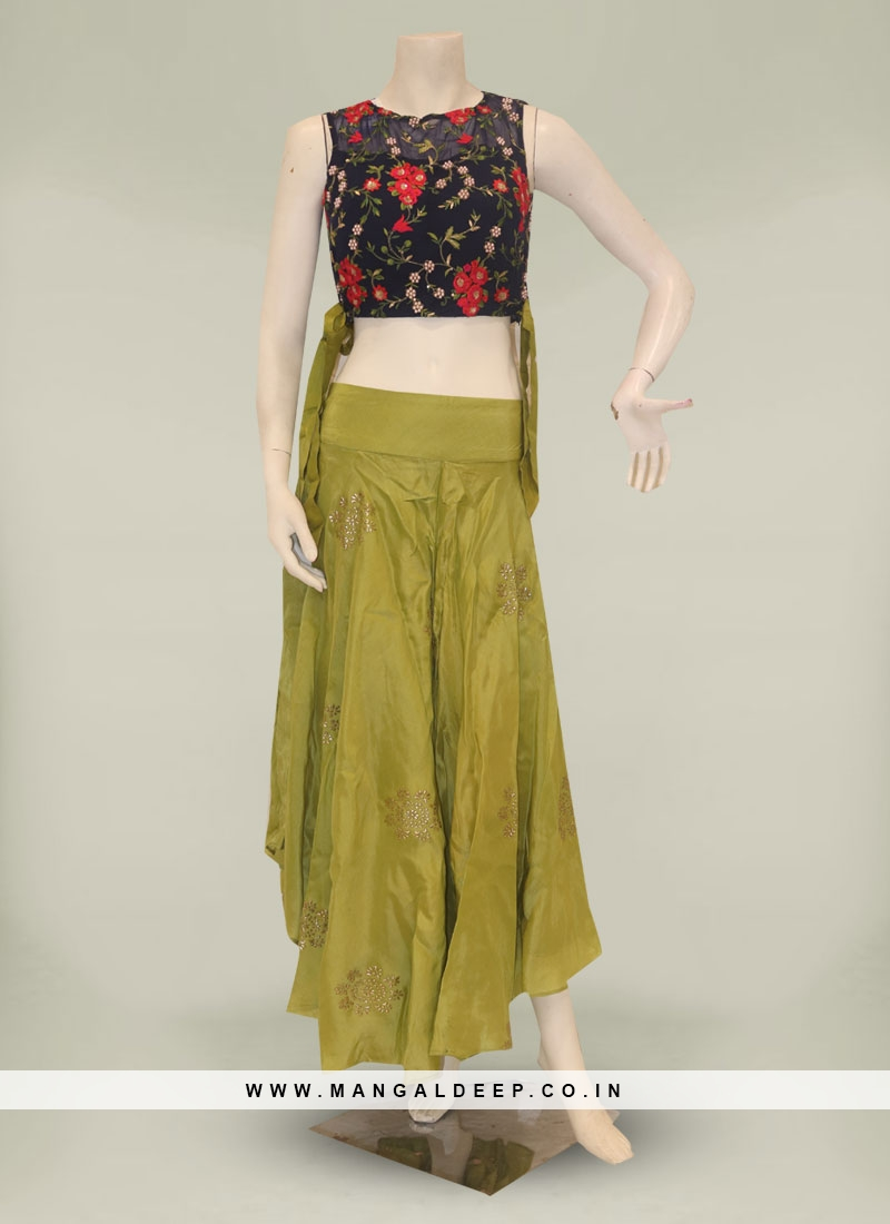 Blue And Green Color Silk Plazo With Crop Top