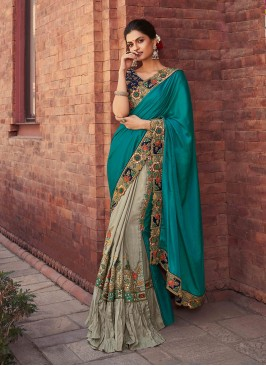 Blue And Grey Color Embroidered Half And Half Saree