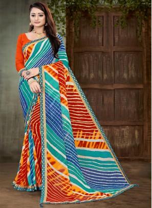 Blue And Orange Color Leheriya Saree