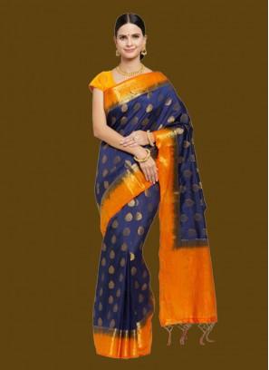 Blue And Orange Banarasi Silk Saree