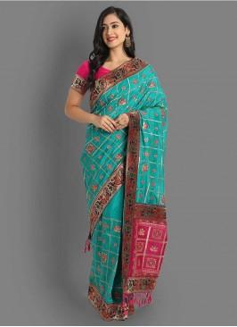 Blue And Pink Traditional Panetar Saree