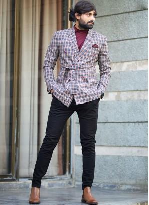 Blue And Red Color Checks Design Blazer