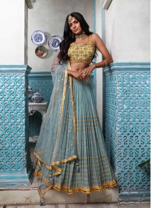 Blue And Yellow Color Chaniya Choli