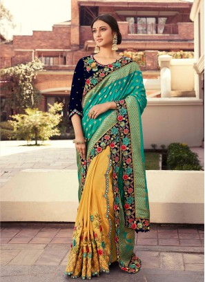 Blue And Yellow Color Half And Half Saree