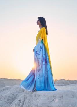 Blue And Yellow Satin Fancy Saree