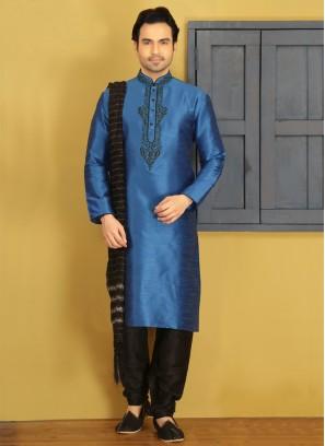 Blue Art Banarasi Silk Kurta Pajama