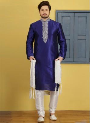 Blue Art Dupion Silk Kurta Pajama
