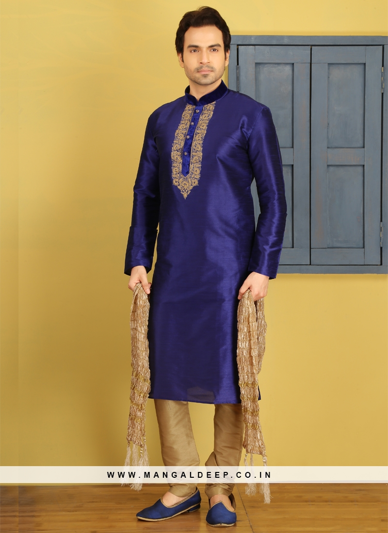 Blue Art Dupion Silkd Kurta Pajama
