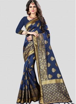 Blue BANARASI SILK SAREES FOR WEDDING