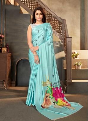 Blue Color Animal Print Saree