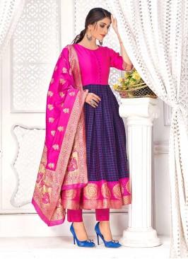 Blue Color Banarasi Silk A Line Kurti