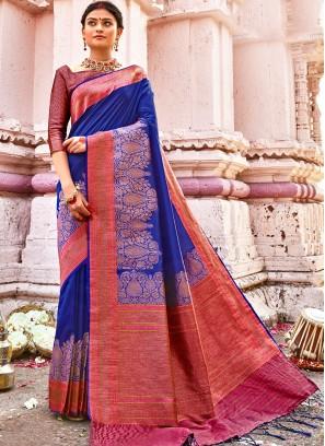 Blue Color Banarasi Silk Designer Saree