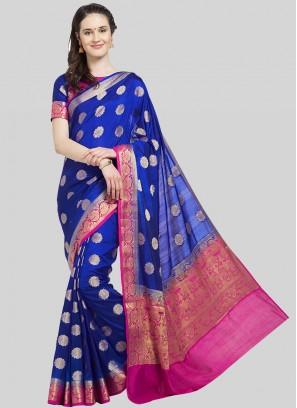 Blue Color Banarasi Silk Fancy Saree