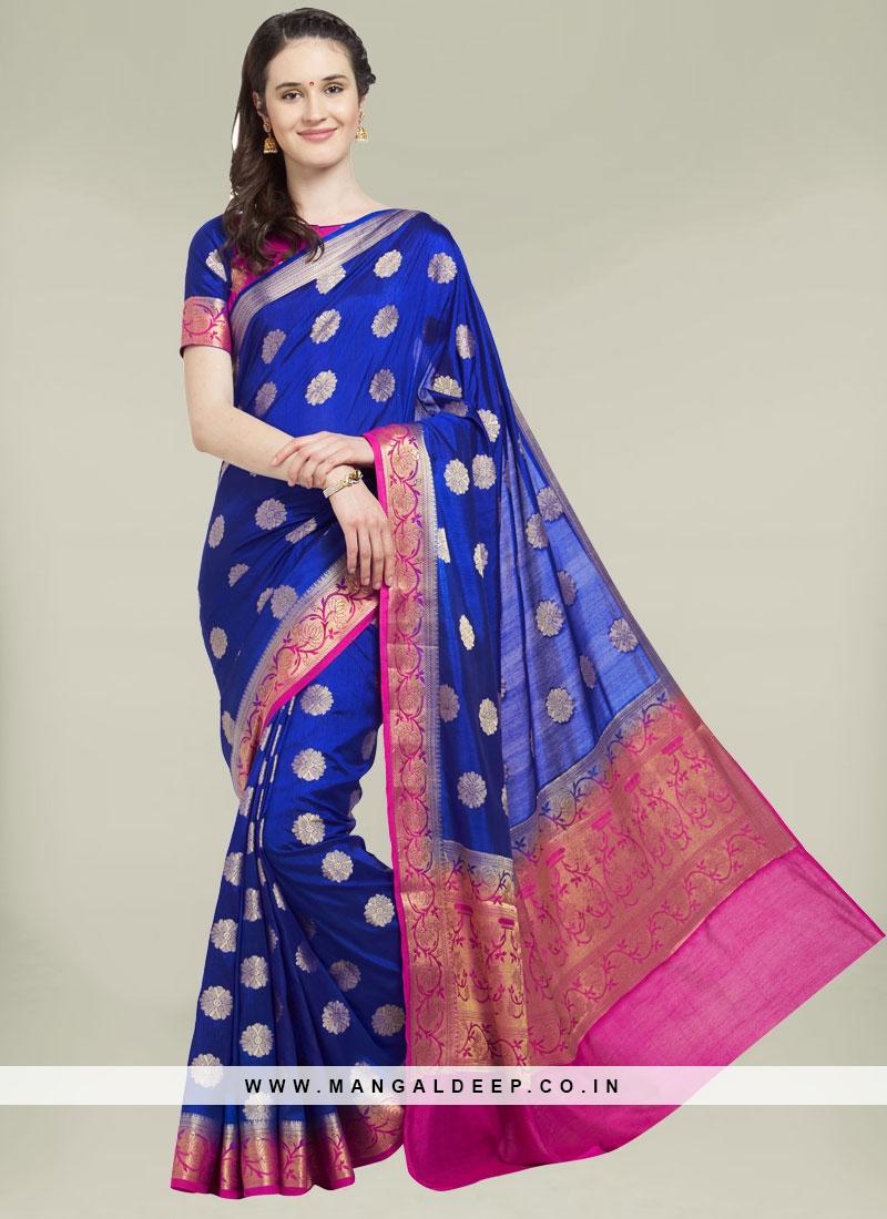 Blue Color Banarasi Silk Ladies Saree
