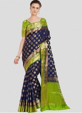 Blue Color Banarasi Silk Party Wear Saree