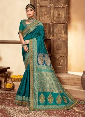 Blue Color Banarasi Silk Saree For Ladies