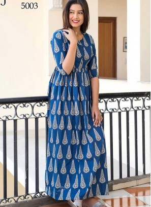 Blue Color Casual Wear Gown