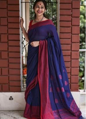 Blue Color Chanderi Cotton Saree