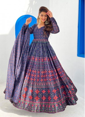 Blue Color Chanderi Printed Gown