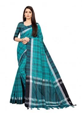 Blue Color Checks Design Cotton Saree