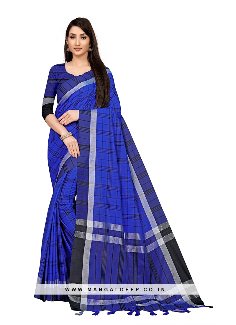 Blue Color Checks Pattern Saree